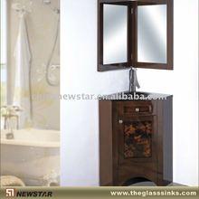 Floor mounted OAK corner vanity