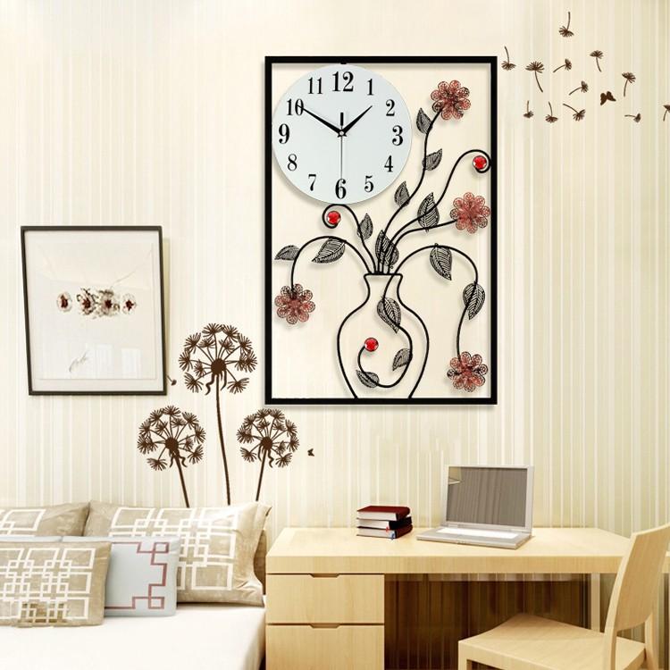 Horloge murale pas cher vase en forme moderne belle exquis - Grande horloge murale design pas cher ...