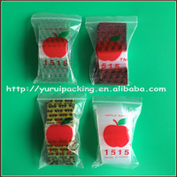 China factory custom printed security apple mini zip lock bags