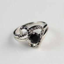Unique Beautiful Small White Zircon and Black Diamond Silver Plated Finger Ring Design for Woman