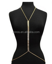 Goldtone Adjustable Length Center V-Shaped Full Body Chain