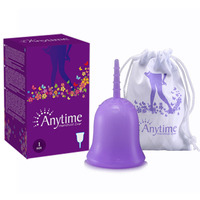Anytime Internantional Brand Soft Menstrual Silicone Period Cup Large Size and S Size for Feminine Hygiene