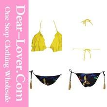 Fashion Wholesale Yellow Floral Bikini 2014 sexy girl micro bikini swimwear models
