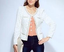 2015 ladies quality beaded coat long sleeve oem wholesale factory fashion woman coat