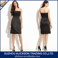 2014 Flattering Column Ruffle Strapless Drop Waist Knee Length Black Sex Girl Dress