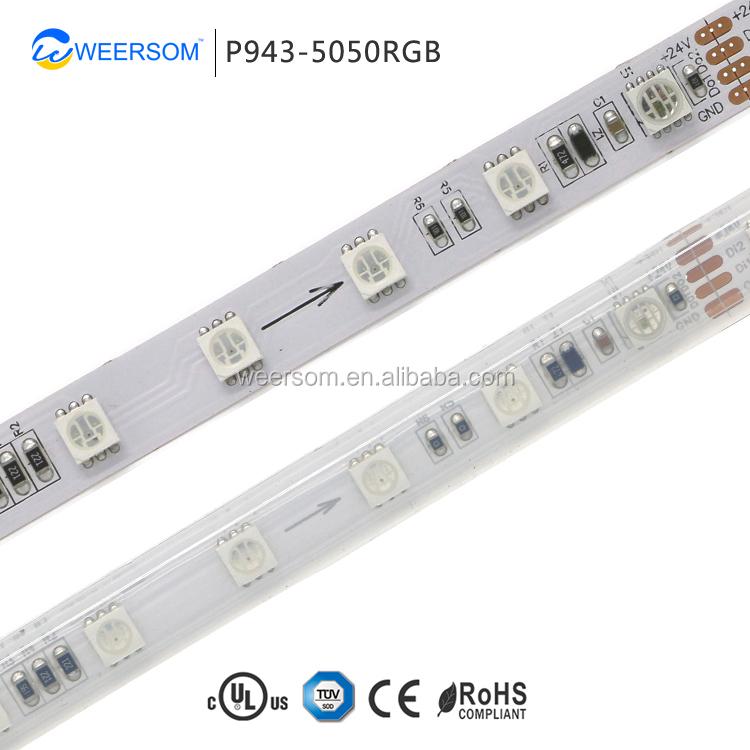 WEERSOM SMD-P943 IC 5050RGB 24 볼트 스트립 빛 60 Leds/M 더블 신호