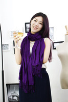 China new fashion women style 100% viscose 40s` twill soft hand feeling solid color long scarf
