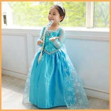 2015 full sleeve frozen elsa party dress, girl princess dress, girls dresses