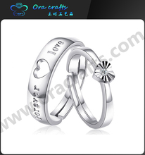 2015 High Fashion Heart shaped cheap silver Wedding couple rings