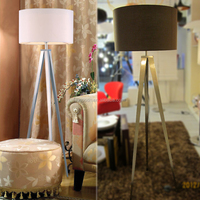 Modern Design Decorative Coffee color Fabric Art Steel Standing Tripod Floor lamp,M7036