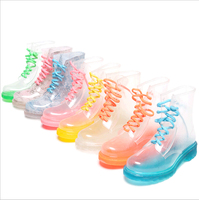 pvc transparent rain boots fashion rubber rain boots for women girls ladies