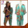 380018 Beach Tassels Design Blue Floral Kimono Shawl Wrap