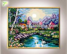 cisne branco lago pintura a óleo sobre tela para a sala de estar