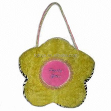 Custom clients own design flower shape soft plush materails handbag for girls