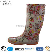 (CH.W151) Flower rain boots summer dress lady rubber boots factory