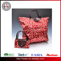 Flower pattern reusable foldable shopping bag for young housewife
