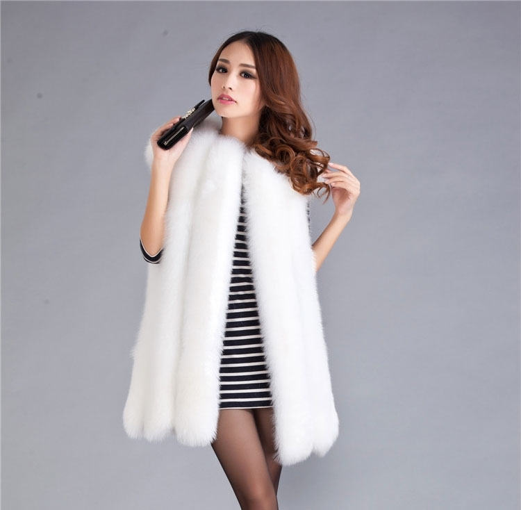 2016 Lady Fashion Genuine Natural Whole-hide Fox Fur Vest Waistcoat  Winter Women Fur Gilet Outerwear Coats VK1473