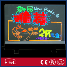 Transparent and neno ligting led rewriting board with full color pens