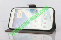 High Quality Genuine leather case for samsung galaxy note 2 n7100 with Card Slots And Magnetic Flip Stand Cover