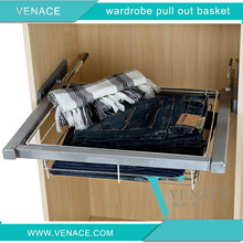 Wardrobe and cabinet pull out soft close clothes storage wire basket with Hettich slide
