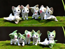 Moss micro landscape decoration furnishing articles A flower pot with cute cartoon new cheese cat toy doll