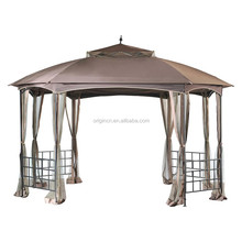 """side railings and tiered dome top 142"""" x 118"""" pavilion for patio furniture wrought iron gazebo"""