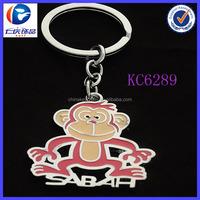 Malaysia Best Selling Promotional Lovely Metal Monkey Custom Sabah Logo Key Chain