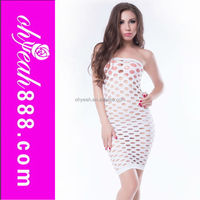 Wholesale new arrival sexy ladies white fish net tight strech sexy transparent nude babydoll