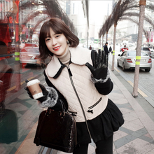 Korean style woolen winter coat stitching designs thin first down coats doll collar down jackets short woman overcoat