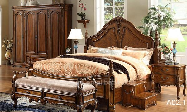 a muebles de dormitorio antiguo tallado a mano de madera maciza estilo