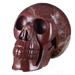 """Giant!5.91"""" Natural Red Jasper Carved Skull Carving #7D17,Crystal Healing,damage"""