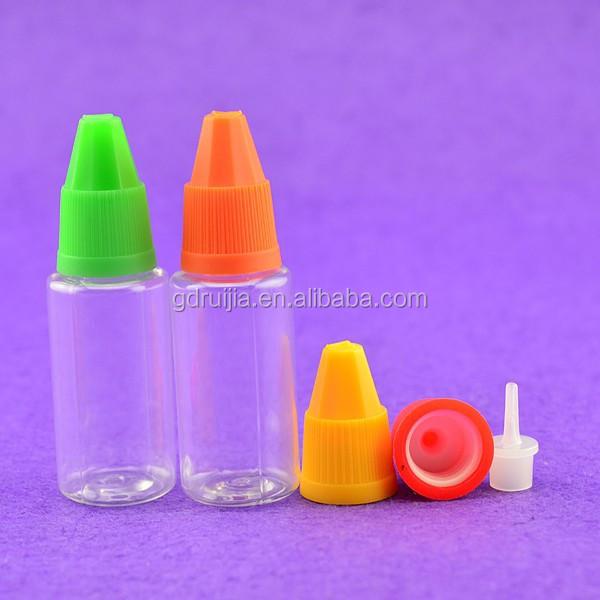 Novo produto 10 ml plástico reciclagem para garrafas e líquidos e cig e suco com tampas e dicas de Guangzhou fabricação