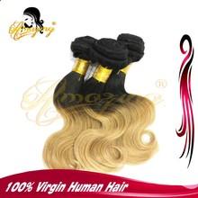 6A Wholesale brazilian hair body wave ombre color weft, Ombre color human hair weft, 1b 27 ombre colored hair weave