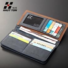 QB69 handmade waterproof wallet travel genuine leather mens clutch wallet