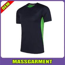 Gym shirt mens short sleeve round collar t shirt elastic fitness training t shirt dry fit 90% polyester