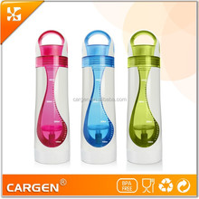 500ml colorful double wall plastic water bottle with strainer