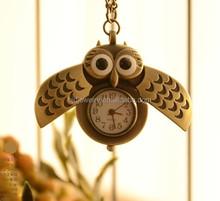 Wholesale trendy retro watch pendant owl necklace