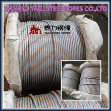 galvanized and ungalvanized marine steel wire ropes with one strand orange color
