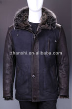 High Quality Men's Mid-long Casual Winter Leather Coat With Fur Collar