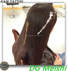 fashion jewelry inspired metallic hair temporary tattoo with shooting star and moon
