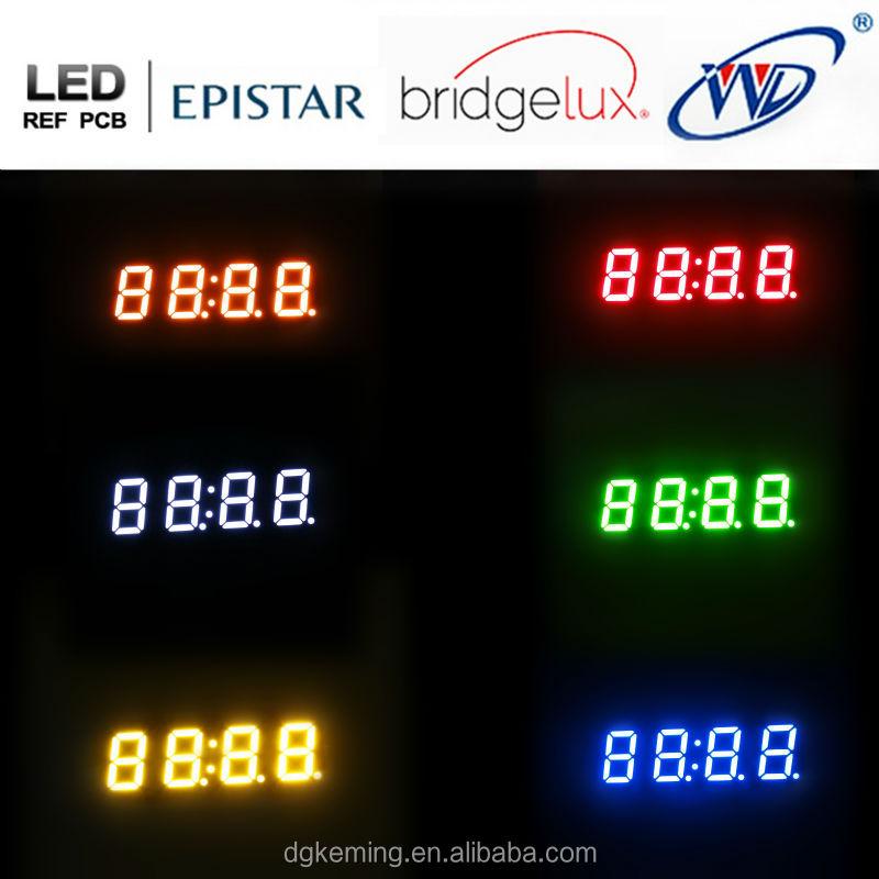 Ultra Yellow 0.4 inch four 4 quad digit 7 segment led display module for wall clock