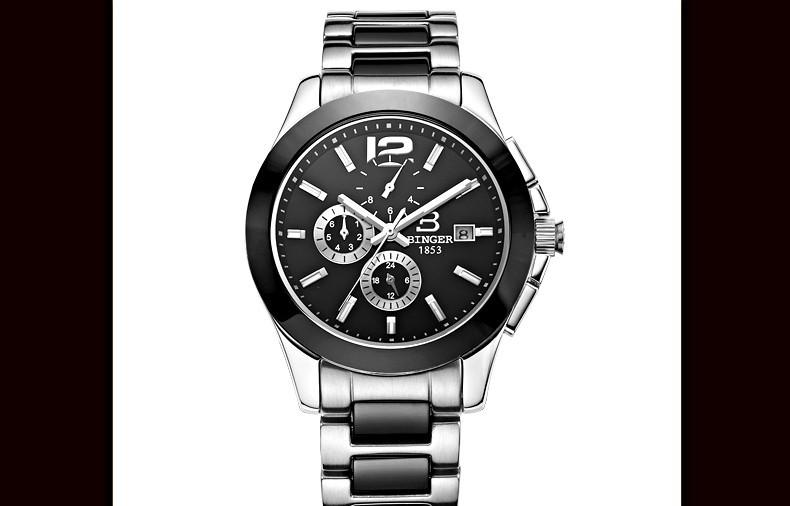 Бренд Бингер 2016 Роскошные Мужские Автоматические Часы Черный 39 ММ Керамическая Рамка Часы 6 Иглы Большой Размер Открытый Армия Наручные Часы Freeship