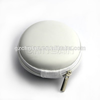 Cell phone accessories earbud case with mesh pocket PU leather earphone pouch