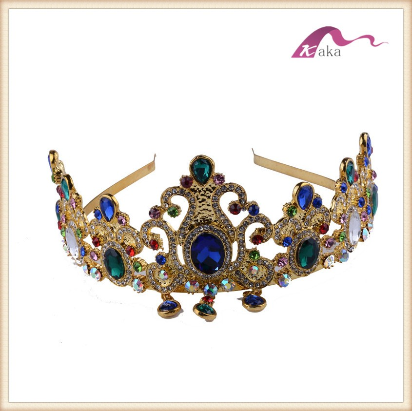 Gold Crown Rhinestone Transfer Iron On Tiara Pageant