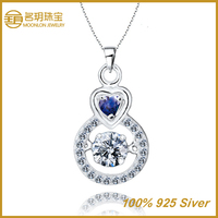 Russian silver jewelry, blue sapphire clip pendant necklace for women