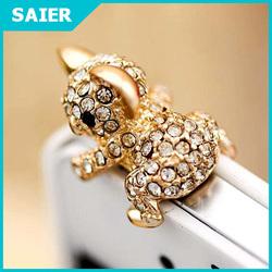 Cute Fashion Diamond Gold Koala Anti Dust Plug for Cell Phone