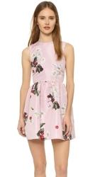 2016 new design fashion sleeveless puff printing pattern pink casual dress or women