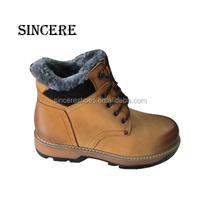 Thick Quality Leather Military Style Man Safety Shoe