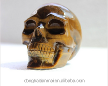 Wholesale Natural Tiger Eye Rock Quartz Crystal Skull Polished / Gemstone Crystal Skull