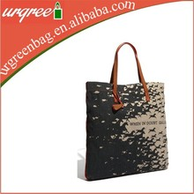 Popular Wholesale Black Cotton Tote Bag With PU Leather
